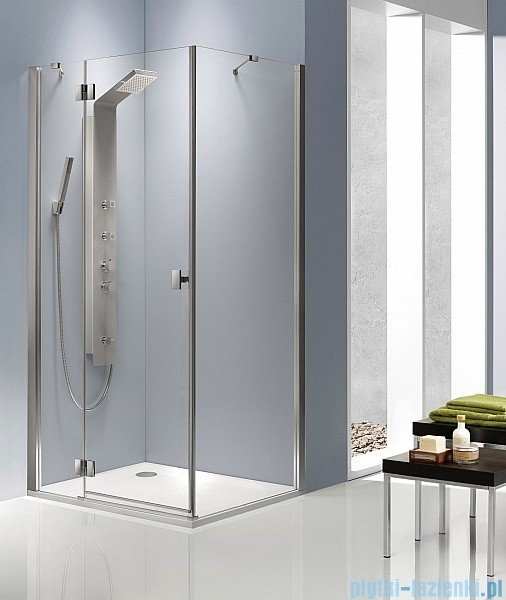 Radaway Kabina prysznicowa Essenza KDJ 80x100 lewa szkło brązowe + brodzik Doros D + syfon 32849-01-08NL