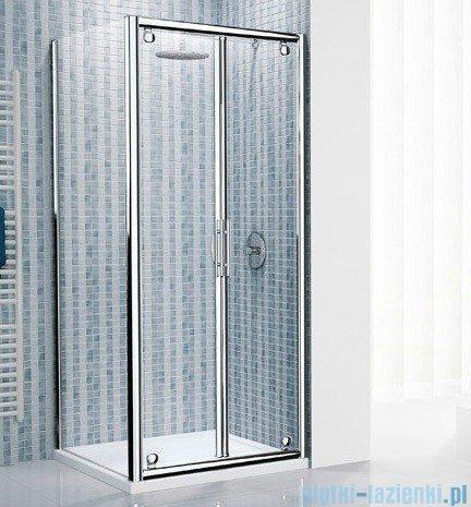 Novellini Drzwi prysznicowe składane LUNES B 102 cm szkło przejrzyste profil srebrny LUNESB102-1B