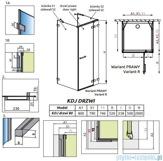Radaway Euphoria KDJ+S Drzwi prysznicowe 80 prawe szkło przejrzyste 383021-01R