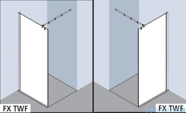 Kermi Filia Xp Ściana Walk-in Wall, stabilizator 45 stopni, szkło przezroczyste, profile srebrne 90x200cm FXTWG09020VAK