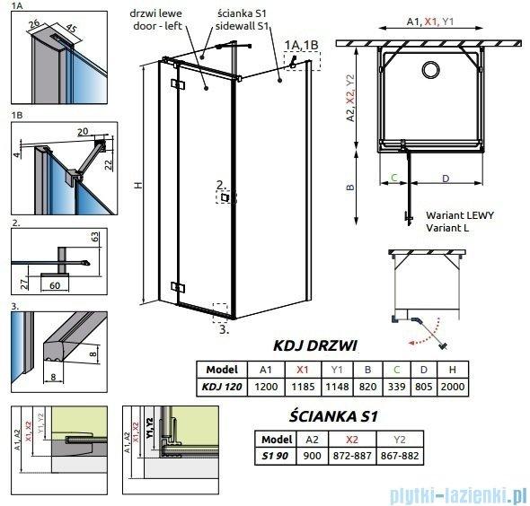 Radaway Essenza New Kdj+S kabina 90x120x90cm lewa szkło przejrzyste 385024-01-01L/384050-01-01/384050-01-01
