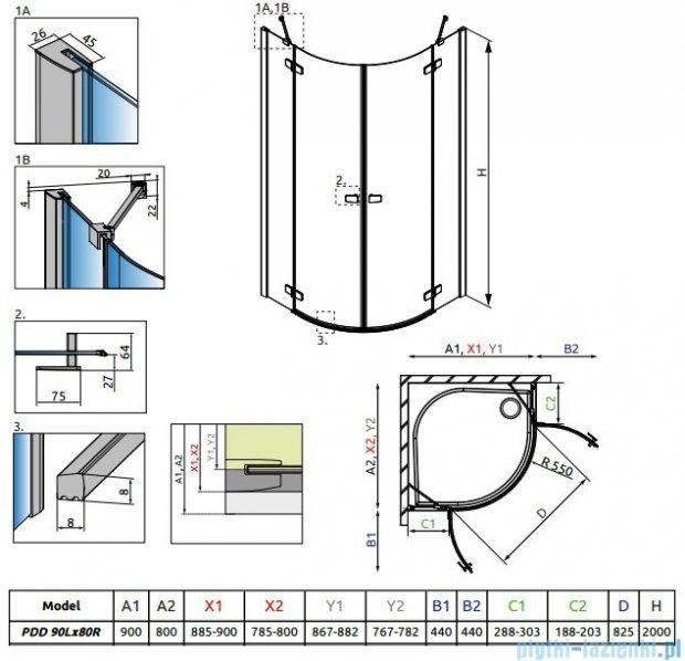 Radaway Fuenta New Pdd kabina 90x80cm szkło przejrzyste 384001-01-01L/384002-01-01R