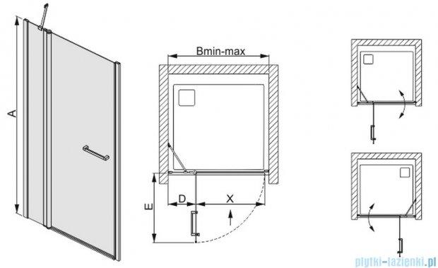 Sanplast drzwi skrzydłowe szkło przejrzyste DJ2/PRIII-110 600-073-0810-01-401