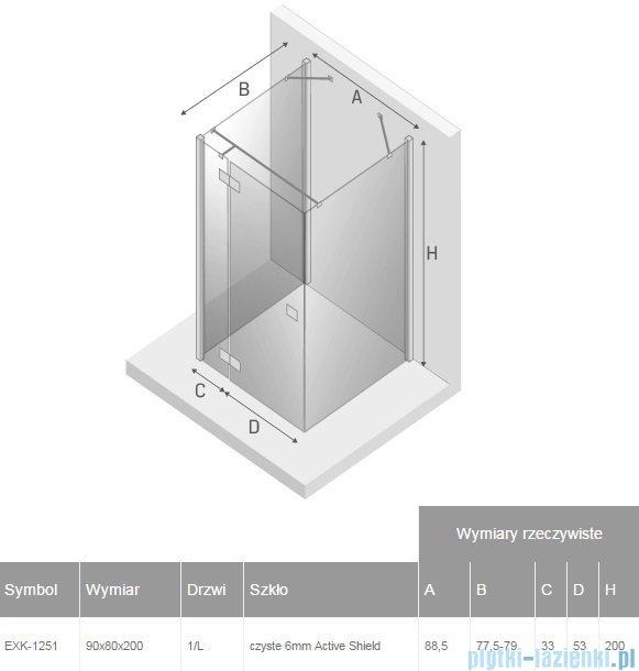 New Trendy Reflexa 90x80x200 cm kabina trójścienna lewa przejrzyste EXK-1251