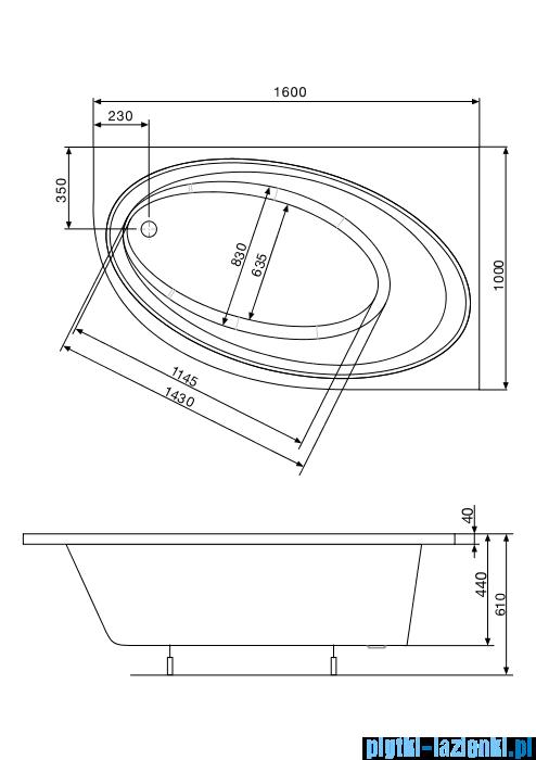Roca Orbita wanna 160x100cm prawa z hydromasażem Effects Gold Opcja A24T231000