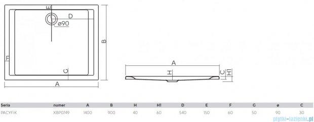 Koło Pacyfik Brodzik 140x90cm prostokątny XBP0749