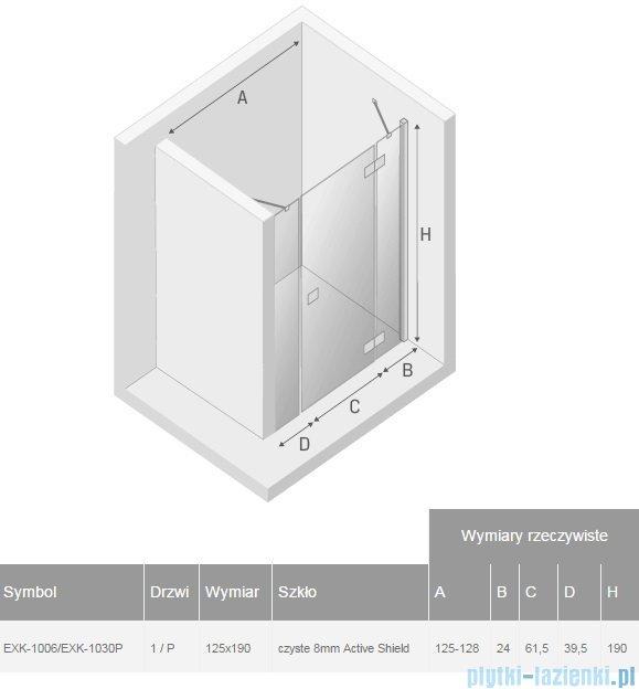 New Trendy Modena Plus drzwi prysznicowe 125cm prawe szkło przejrzyste EXK-1006/EXK-1030P