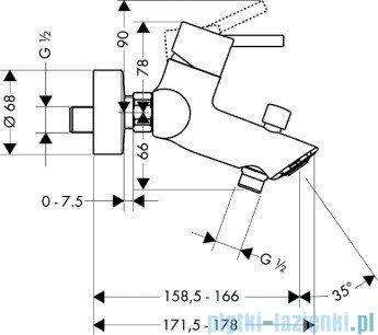 Hansgrohe Talis S² Jednouchwytowa bateria wannowa DN15–montaż natynkowy 32440000