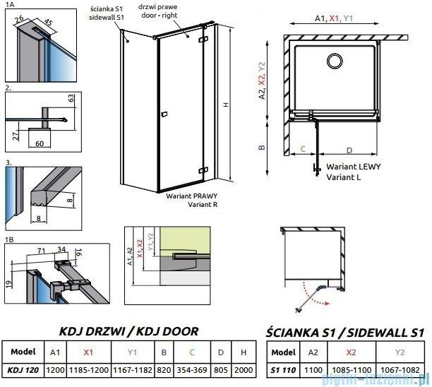 Radaway Essenza New Kdj kabina 120x110cm prawa szkło przejrzyste 385042-01-01R/384053-01-01