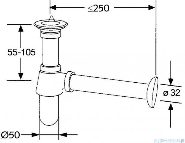 Kludi Syfon butelkowy G 1 1/4 G 1 1/4x32mm chrom 101110500