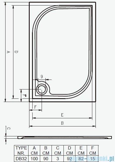 Riho Brodzik prostokątny Kolping 100x90x3 + nogi + syfon DB32