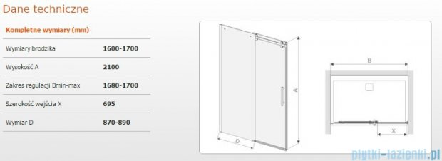 Sanplast drzwi przesuwne D2/ALTIIa-160-170 160-170x210 cm przejrzyste 600-121-1561-42-401