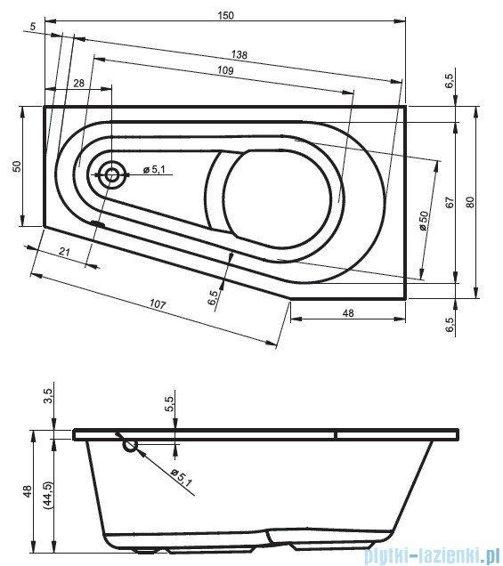 Riho Delta wanna asymetryczna lewa 150x80 z hydromasażem Hit Hydro 6+4+2 BB81H2