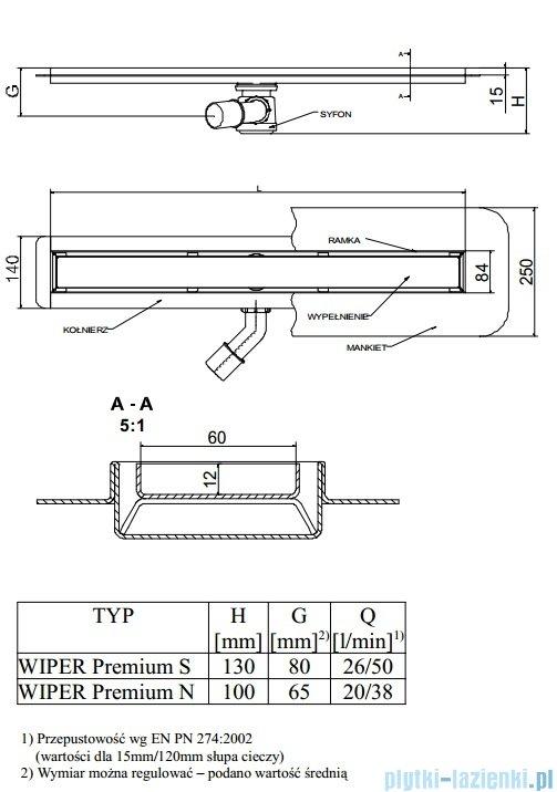 Wiper Odpływ liniowy Premium Zonda 120cm z kołnierzem mat Z1200MPS100