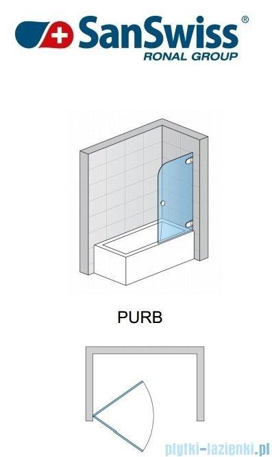 SanSwiss Pur PURB Parawan nawannowy 1-częściowy 70cm profil chrom szkło Krople Prawy PURBD07001044