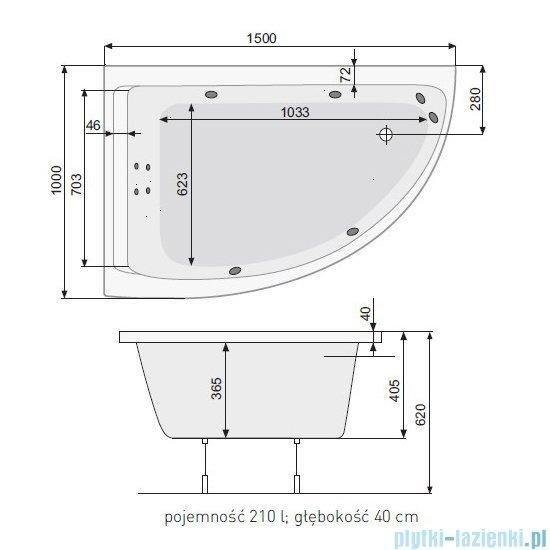 Poolspa Viva Klio wanna asymetryczna 150x100 lewa + hydromasaż system SD3 PHA2A10SD3C0000