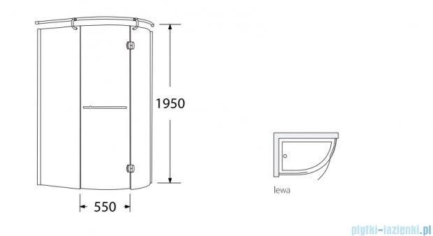 Sea Horse Sigma kabina Klio lewa 120x85cm grafitowe BK261GL+brodzik prysznicowy BKB261L