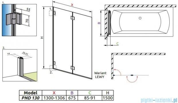Radaway Carena PND Parawan nawannowy dwuczęściowy 130 lewy szkło przejrzyste 202201-101L