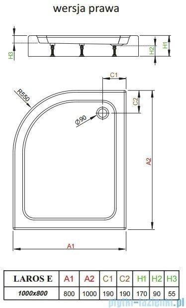 Radaway Laros E Brodzik asymetryczny 100x80x17cm prawy SLE81017-01R