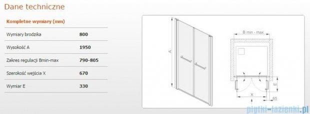 Sanplast drzwi skrzydłowe wahadłowe DD/PRIII 80x195 cm przejrzyste 600-073-0920-38-401