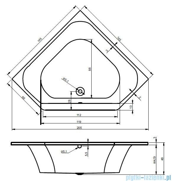 Riho Austin wanna symetryczna 145x145 z hydromasażem Hit Hydro 6+4+2/Aero19 BA11H3