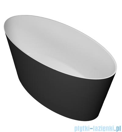 Omnires MARBLE+ROMA 159 CP wanna 159x72cm wolnostojąca biało-czarny połysk