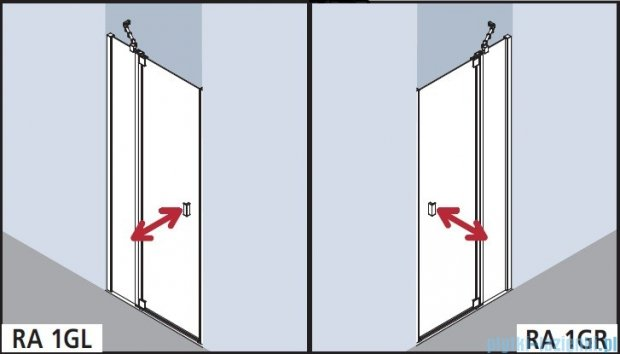 Kermi Raya Drzwi wahadłowe, 1-skrzydłowe, z polem stałym, prawe/przezroczyste KermiClean, profile srebrne 100x200 RA1GR10020VPK