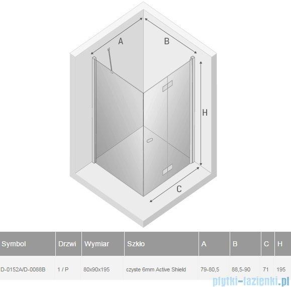 New Trendy New Soleo 80x90x195 cm kabina prawa przejrzyste D-0152A/D-0088B