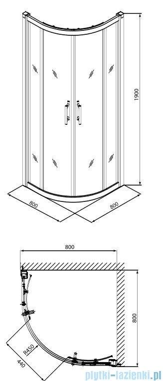 Koło Geo 6 Kabina 80cm półokrągła część 1/2 GKPG80205003A
