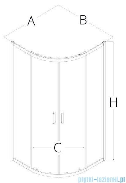 New Trendy Adora kabina 90x90x190cm półokrągła R55 grafit K-0283