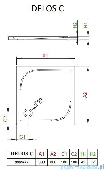 Radaway Brodzik kwadratowy Delos C 80x80 SDC0808-01