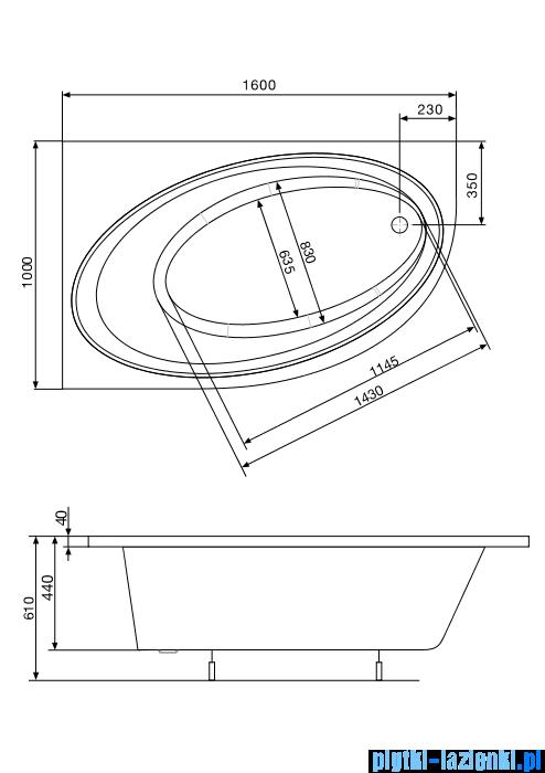 Roca Orbita wanna 160x100cm lewa z hydromasażem Effects Gold A24T222000