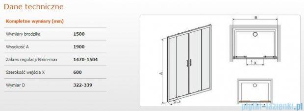 Sanplast drzwi przesuwne D4/TX5b-150 150x190 cm przejrzyste 600-271-1250-38-401
