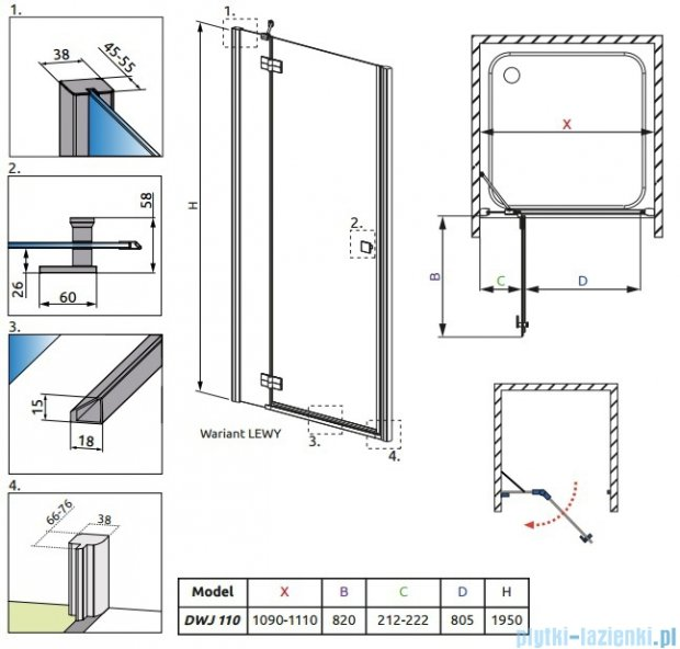 Radaway Almatea DWJ Gold drzwi wnękowe 110 lewe szkło grafitowe 31212-09-05N