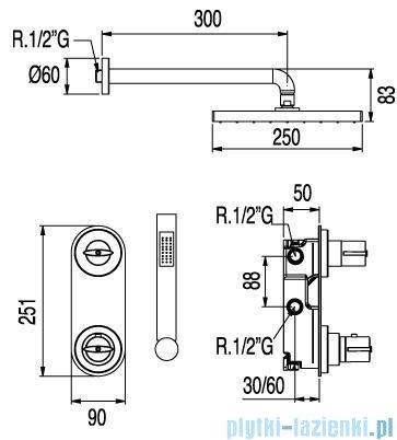 Tres Lex-Tres Zestaw natryskowy z baterią termostatyczną podtynkową 1.81.175