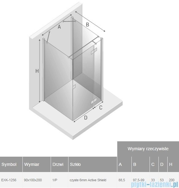 New Trendy Reflexa 90x100x200 cm kabina trójścienna prawa przejrzyste EXK-1256