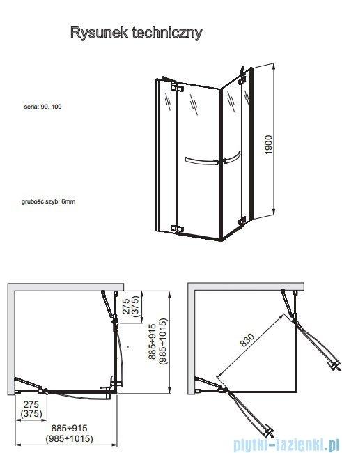 Aquaform HD Collection kabina kwadratowa 90x90cm przejrzyste 101-09372
