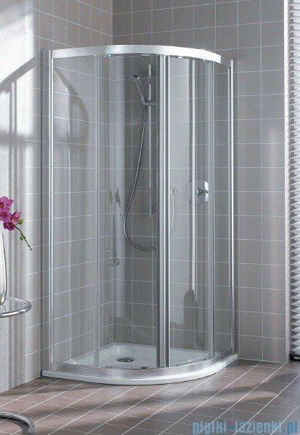 Kermi Atea Kabina ćwierćkolista, drzwi przesuwne, szkło przezroczyste, profile srebrne 100x100cm ATQ1010018VAK