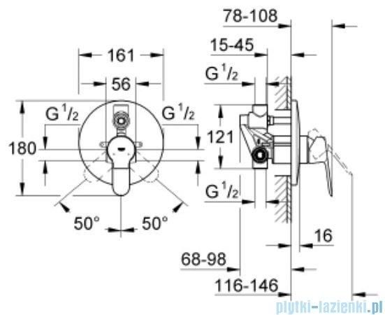 Grohe Bauedge bateria podtynkowa wannowa z przełącznikiem 29079000