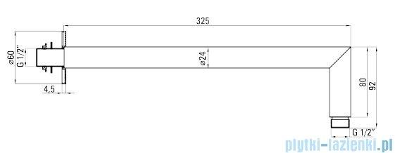 Deante Cascada wylewka ścienna 32 cm chrom NAC 047K