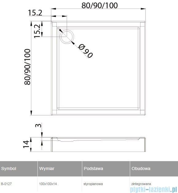 New Trendy Columbus brodzik kwadratowy zintegrowany 100x100 B-0127