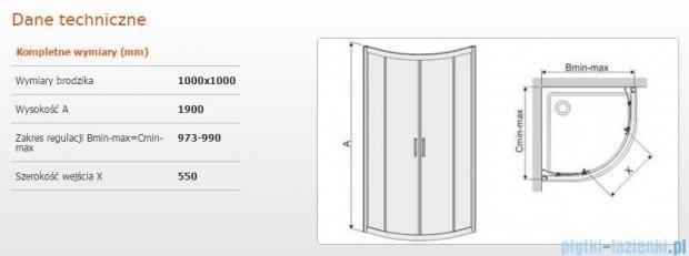 Sanplast kabina narożna półokrągła KP4/TX5b-100 100x100x190 cm szkło przejrzyste 600-271-0270-38-401