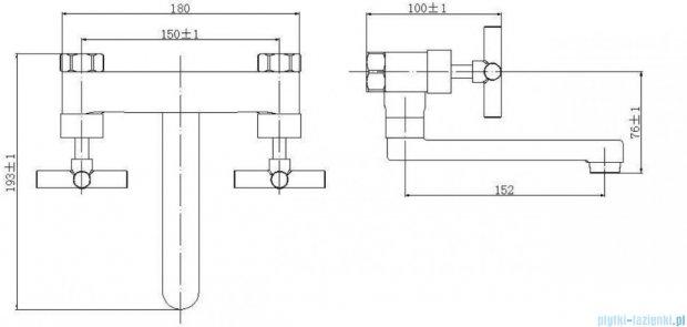 Omnires Modern bateria umywalkowa ścienna chrom C312