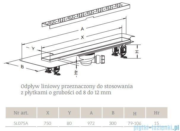Radaway Steel Odpływ liniowy 75x8cm 5L075A,5R075S