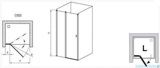 Ravak Chrome Drzwi prysznicowe CSD2-100 białe+transparent 0QVAC100Z1