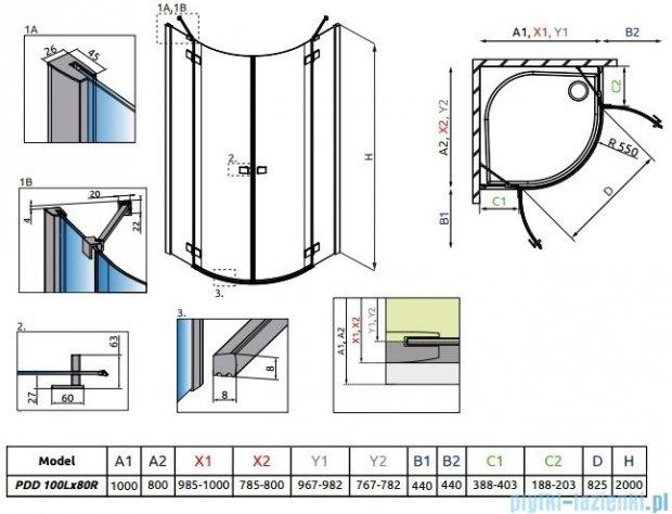 Radaway Essenza New Pdd kabina 100x80cm szkło przejrzyste 385003-01-01L/385002-01-01R