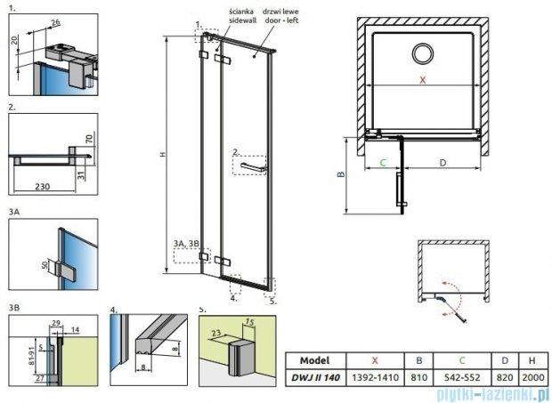 Radaway Arta Dwj II drzwi wnękowe 140cm lewe szkło przejrzyste 386444-03-01L/386016-03-01L