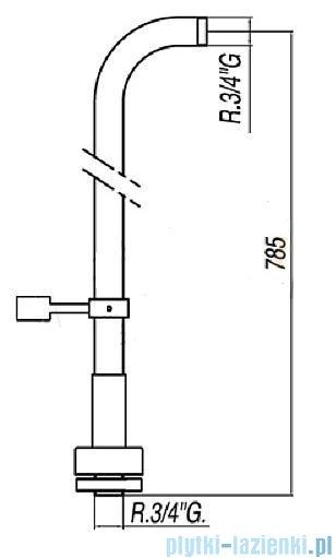 Tres Loft-Tres Komplet przyłączy podłogowych wolnostojących do baterii wannowych z uchwytem obrotowym kolor chrom 1.61.194