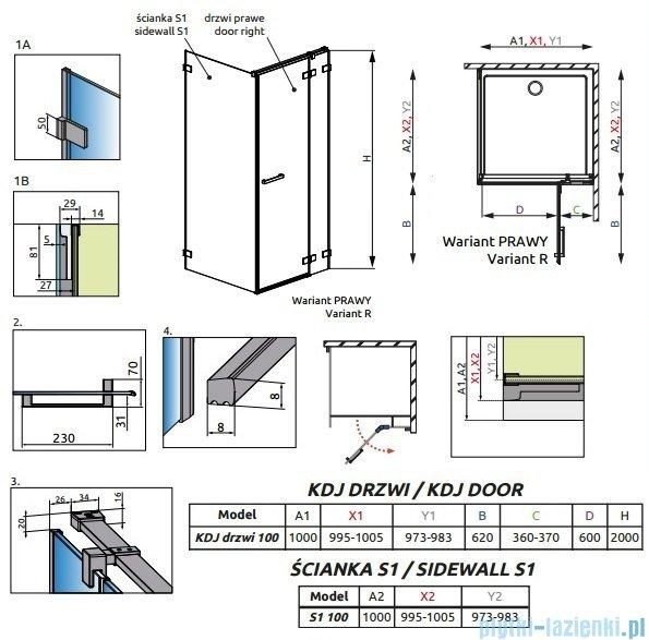 Radaway Euphoria KDJ Kabina prysznicowa 100x100 prawa szkło przejrzyste 383040-01R/383052-01