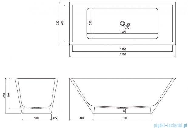 Marmorin Tebe III wanna wolnostojąca 180x70 cm biała P532180020010